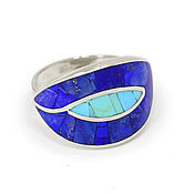 Украшения handmade. Livemaster - original item Ring with lapis lazuli and turquoise. Size 21. Unique ring.. Handmade.