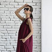 Одежда ручной работы. Ярмарка Мастеров - ручная работа Летний сарафан, бордовое платье. Handmade.