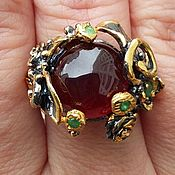 Украшения handmade. Livemaster - original item Silver ring with natural garnet, ring size 17,5. Handmade.