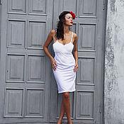 Платье Комбинация .Белое.