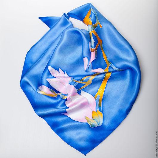 """Шали, палантины ручной работы. Ярмарка Мастеров - ручная работа. Купить Батик шелковый платок """"Цветение"""". Handmade. Голубой, цветок"""