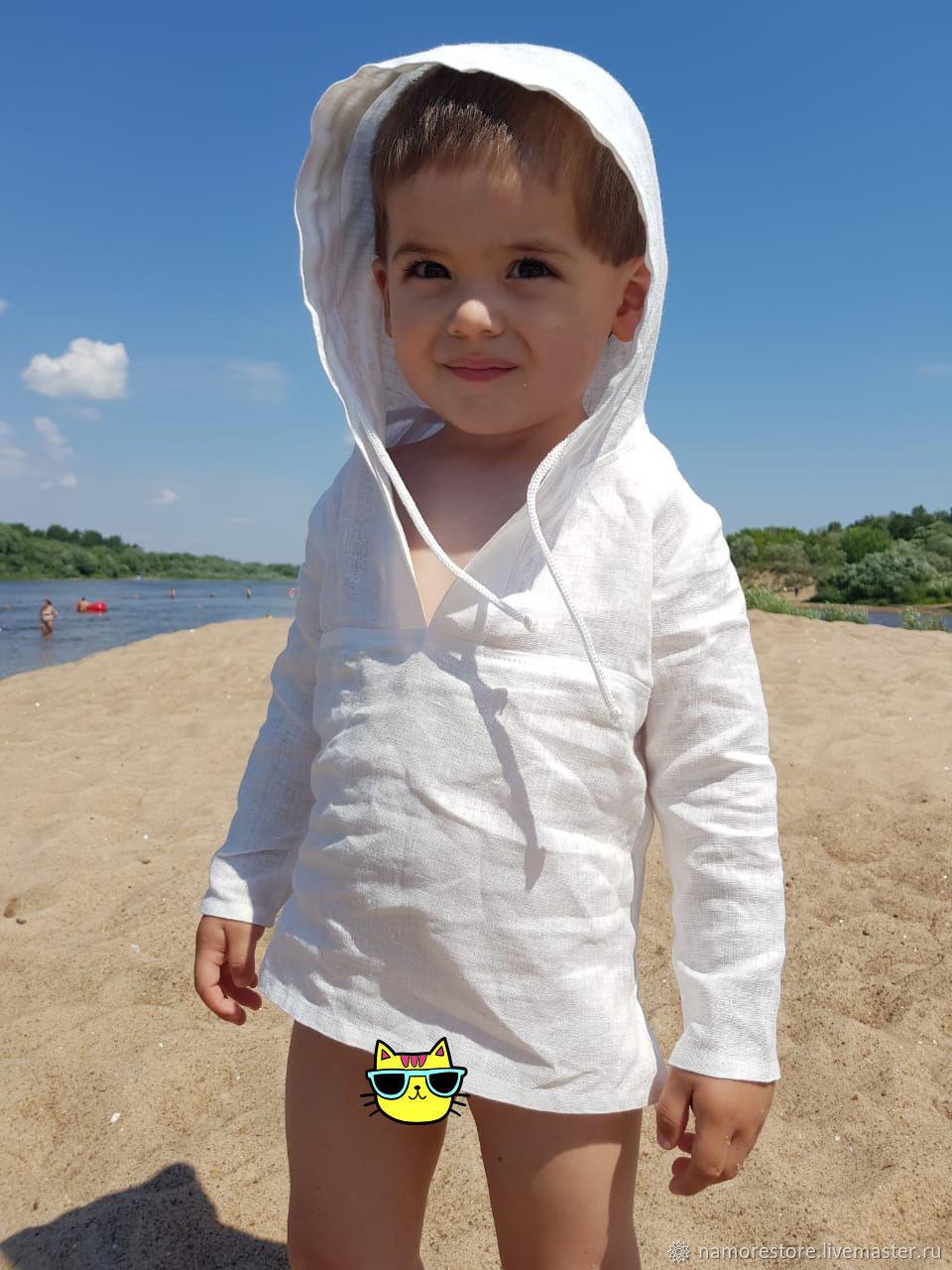 Одежда для мальчиков, ручной работы. Ярмарка Мастеров - ручная работа. Купить Рубашка пляжная для мальчика из льна. Handmade. Белый