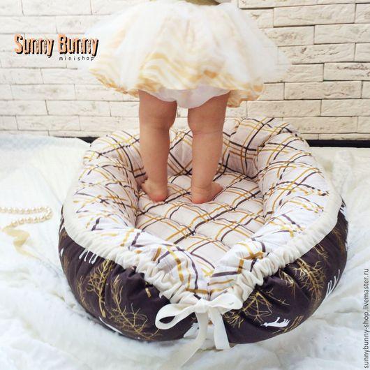 """Детская ручной работы. Ярмарка Мастеров - ручная работа. Купить Гнездышко для новорождённого """"Золотисто-коричневый"""". Handmade. Коричневый, детская комната"""