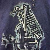 """Одежда ручной работы. Ярмарка Мастеров - ручная работа Рубашка поло мужская  """"Музыка"""" из льна. Handmade."""