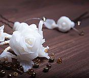 """Свадебный салон ручной работы. Ярмарка Мастеров - ручная работа Свадебные шпильки """"Роза белая"""". Handmade."""