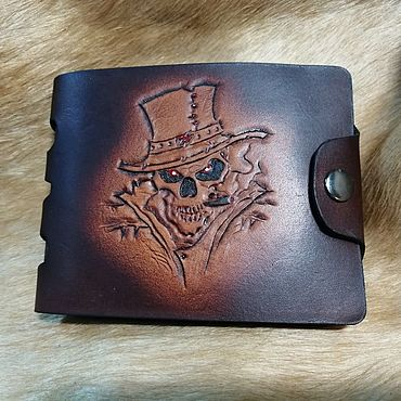 Bags and accessories handmade. Livemaster - original item Mens wallet embossed. Handmade.