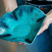 Посуда ручной работы. Ярмарка Мастеров - ручная работа Бирюзовая керамическая тарелка ручной работы. Handmade.