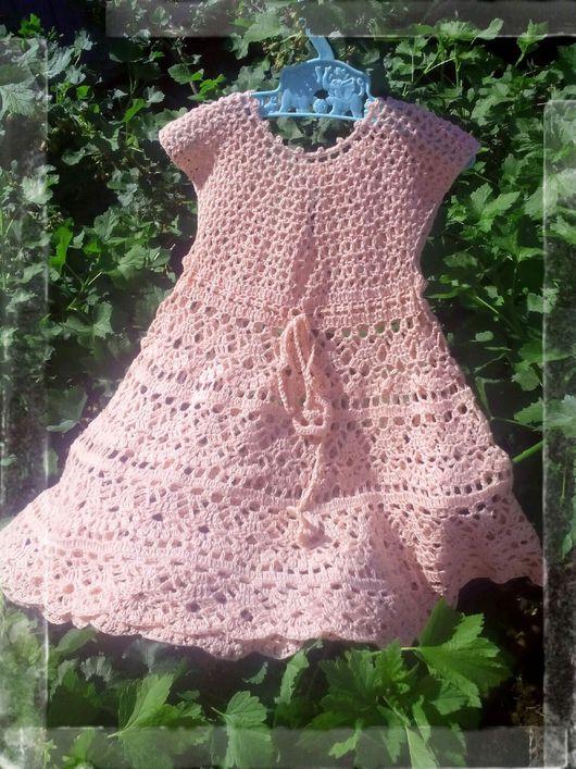 """Одежда для девочек, ручной работы. Ярмарка Мастеров - ручная работа. Купить Платье """"Персик"""". Handmade. Платье для девочки, связано крючком"""