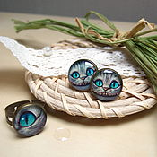 Jewelry Sets handmade. Livemaster - original item Vintage Set Ring and Earrings Cheshire cat Alice in Wonderland. Handmade.