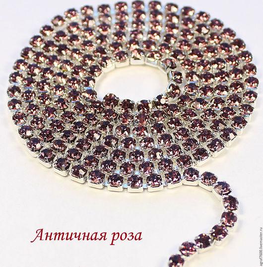 Для украшений ручной работы. Ярмарка Мастеров - ручная работа. Купить Стразовая цепь SS12 3 мм Античная роза в серебристых цапах. Handmade.