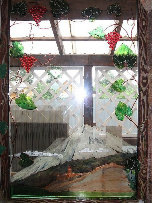 Роспись 9 стеклопакетов в зимнем саду Аист и гора Арарат Роспись рам под дерево. Художник: Екатерина Макарова