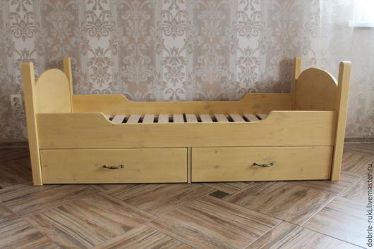 """Детская ручной работы. Ярмарка Мастеров - ручная работа. Купить Детская кровать с двумя ящиками """"Медовая"""". Handmade. Лимонный, кровать"""