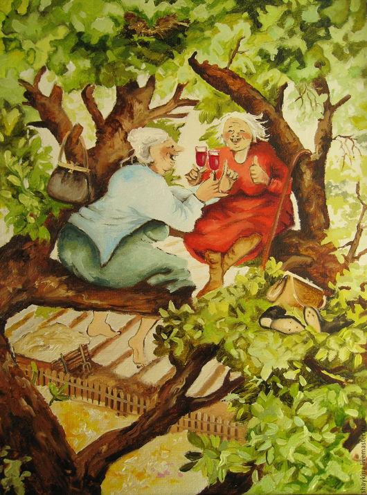 Юмор ручной работы. Ярмарка Мастеров - ручная работа. Купить Картина маслом. Пикник на дереве... Веселые старушки. Handmade. Картина
