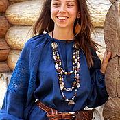 Русский стиль handmade. Livemaster - original item Women`s shirt ancient cut with lace Small flowers. Handmade.