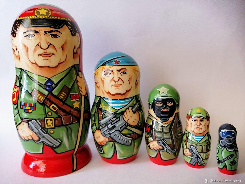 Матрёшка 75 лет победы, армия, Народная кукла, Сергиев Посад,  Фото №1