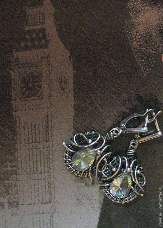 Серьги ручной работы. Ярмарка Мастеров - ручная работа. Купить Серьги с зеленым аметистом, серебро.. Handmade. Серебряный, плетение из проволоки