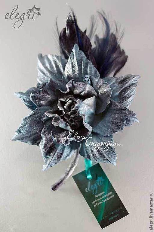 """Броши ручной работы. Ярмарка Мастеров - ручная работа. Купить Брошь-роза с перьями """"Лурис"""". Handmade. Серо-голубой цветок"""