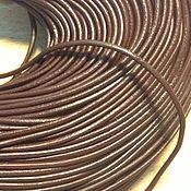 Материалы для творчества ручной работы. Ярмарка Мастеров - ручная работа Шнур кожаный коричневый , Ф 1,5;  2 ; 2,5 ; 3 мм. Handmade.