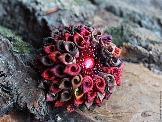 """Броши ручной работы. Ярмарка Мастеров - ручная работа. Купить Брошь """"Роза в графине"""". Handmade. Бордовый, коричневый, хлопок"""