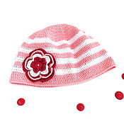 Работы для детей, handmade. Livemaster - original item Panama for girls knitted pink with white stripes summer. Handmade.