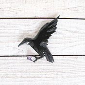 Украшения ручной работы. Ярмарка Мастеров - ручная работа брошь летящая ворона. Handmade.