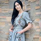 """Dresses handmade. Livemaster - original item Льняное вышитое платье """"Майский день"""". Handmade."""