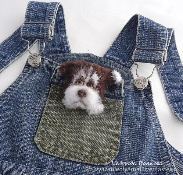 Brooch knitted dog Semushka, the symbol of the New 2018, Brooches, Rybinsk,  Фото №1