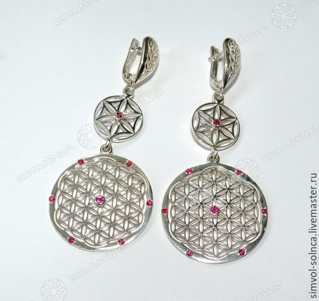 Flower of Life earrings with Thunderbolt, Amulet, Sochi,  Фото №1