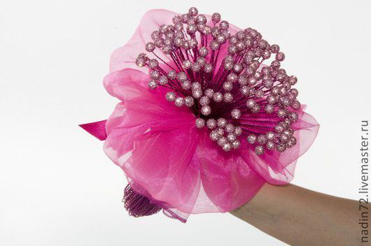 Свадебные цветы ручной работы. Ярмарка Мастеров - ручная работа. Купить Букет из бусин Шамбала. Handmade. Фуксия, свадебный букет