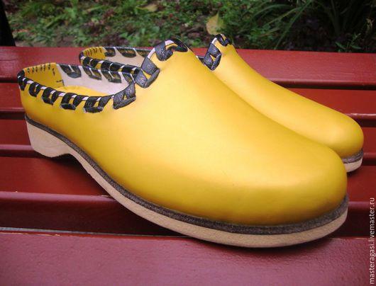 Обувь ручной работы. Ярмарка Мастеров - ручная работа. Купить САБО. Handmade. Желтый, ручная работа, обувь
