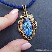 Украшения handmade. Livemaster - original item IRIS pendant-jewelry painting on lapis lazuli. Handmade.