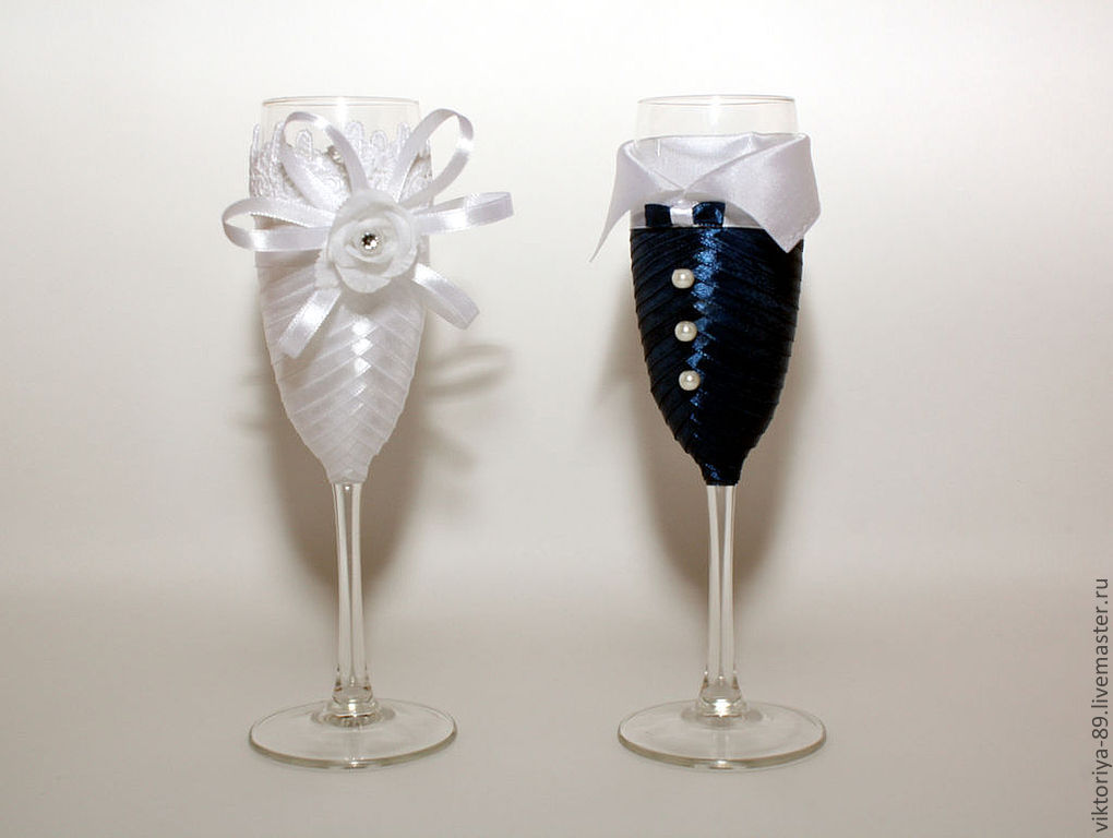 Декор свадебных бокалов лентами мастер класс