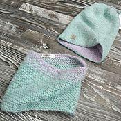 Работы для детей, ручной работы. Ярмарка Мастеров - ручная работа Комплект шапка и снуд для девочки. Handmade.