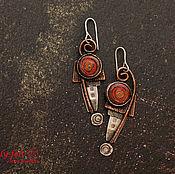 """Украшения ручной работы. Ярмарка Мастеров - ручная работа Серьги """"Красные сумерки» (серебро, медь, горячая эмаль). Handmade."""