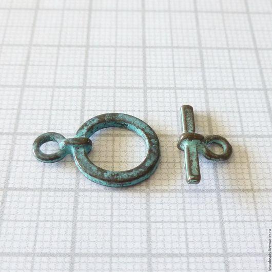 Для украшений ручной работы. Ярмарка Мастеров - ручная работа. Купить Застежка тоггл круглая - патинированная медь. Handmade.