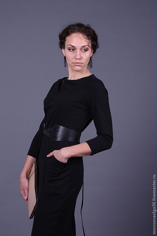 Платья ручной работы. Ярмарка Мастеров - ручная работа. Купить Трикотажное платье Джеки. Handmade. Черный, красное платье, минимализм