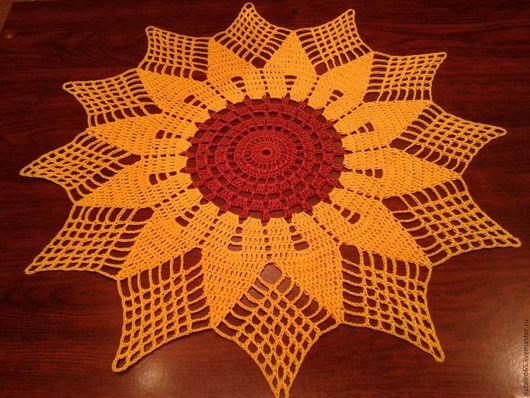 Текстиль, ковры ручной работы. Ярмарка Мастеров - ручная работа. Купить Салфетка Подсолнух. Handmade. Желтый, кружево