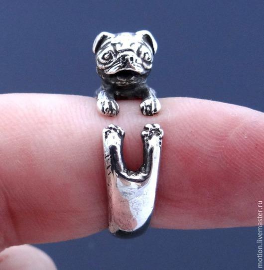 Кольца ручной работы. Ярмарка Мастеров - ручная работа. Купить Колечко Мопс, Серебряное кольцо, Кольцо из Серебра 925. Handmade.