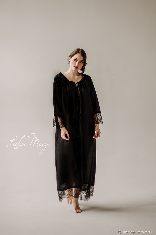 Babydoll 'Feerie' of silk gauze long black, Combination, Moscow,  Фото №1
