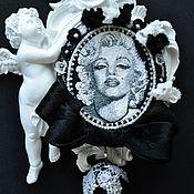 Материалы для творчества handmade. Livemaster - original item MK at portrait embroidery for example, a brooch with M. Monroe. Handmade.