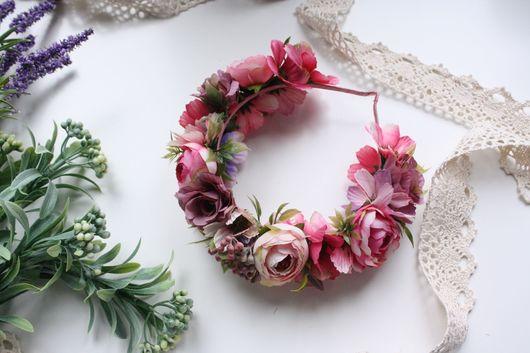 Диадемы, обручи ручной работы. Ярмарка Мастеров - ручная работа. Купить Ободок с цветами нежно-розовый. Handmade. Ободок для волос