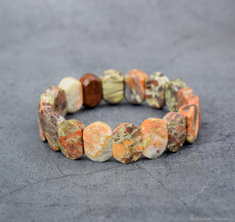 Natural landscape Jasper cut bracelet, Bead bracelet, Moscow,  Фото №1