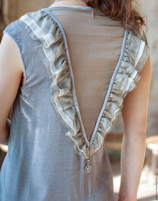 Платья ручной работы. Ярмарка Мастеров - ручная работа. Купить Платье коктейльное из бархата. Handmade. Серый, короткое платье