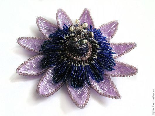 """Броши ручной работы. Ярмарка Мастеров - ручная работа. Купить брошь """"Passion Flower"""". Handmade. Брошь, страстоцвет, Японский бисер"""