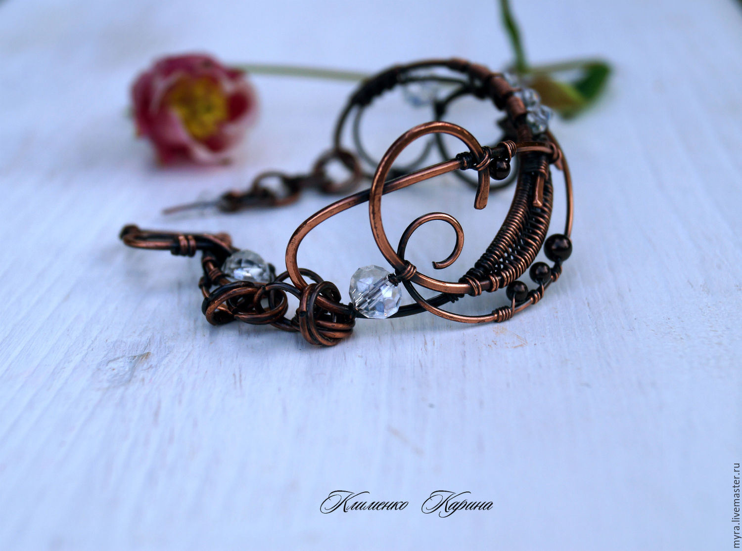Copper bracelet with Swarovski pearls, Bead bracelet, Semenovka,  Фото №1