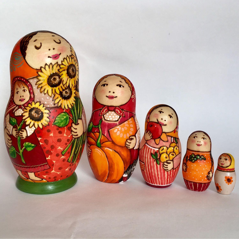 Матрешка 5-местная с выжиганием «Подсолнухи», Матрешки, Сергиев Посад,  Фото №1