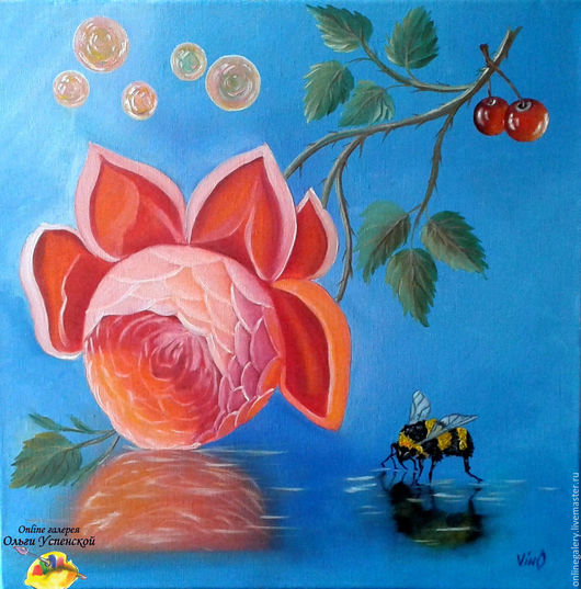"""Пейзаж ручной работы. Ярмарка Мастеров - ручная работа. Купить Картина """"Причудливая роза"""" масло 40х40см. Handmade. Картина"""