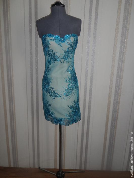 """Платья ручной работы. Ярмарка Мастеров - ручная работа. Купить Платье """"Леди"""". Handmade. Голубой, красивое платье, гипюрное кружево"""