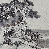 Картины и панно ручной работы. Ярмарка Мастеров - ручная работа картинаПро сосну и водопад(китайская живопись пейзаж графика тушью). Handmade.