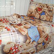 """Комплект белья в кроватку ручной работы. Ярмарка Мастеров - ручная работа Постельное белье в детскую кроватку """"3Д мишки"""". Handmade."""